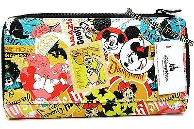 Disney Parks Mickey Minnie Mouse and Friends Characters Icons Collage Wallet NEW