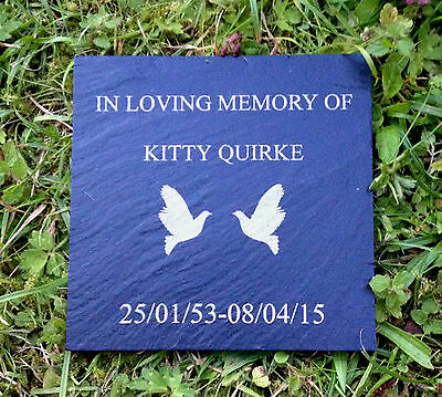 """Personalised Engraved Slate Memorial Grave Marker Plaque 4 x 4"""""""