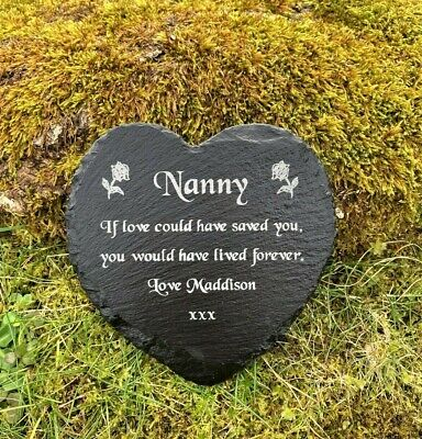 Personalised Engraved Natural Slate Heart Memorial Grave Marker Plaque