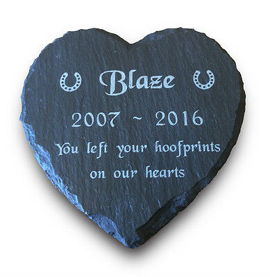 Personalised Engraved Pet Memorial Natural Slate Heart Grave Marker Plaque Horse
