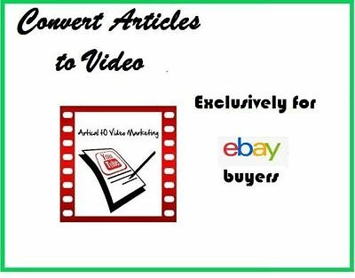 Convert articles into marketing videos - Submit to YouTube for SEO boosting