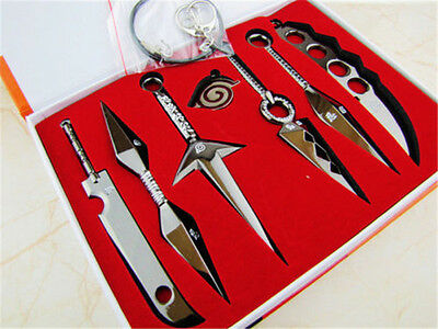 Hot Anime Cool Naruto Necklace Pendant Weapons 6pcs Set With Box Two Colors New