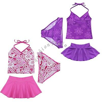 Girls Kids 2 Piece Tankini Bikini Swimwear Bathers Swimmers Swimsuit Size 3 - 7