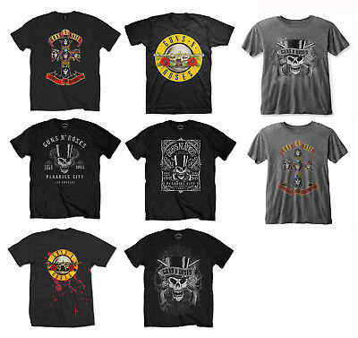 Official Guns N Roses Rock T-Shirt Mens Black - Bullet Classic Logo Faded Skull