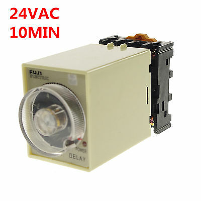 1A 24VAC Power off delay timer time relay 0-10min with PF083A Socket Base