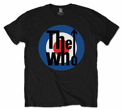 The Who Official Mens Music T-Shirt Black Vintage Bullseye Mod Logo Classic Rock