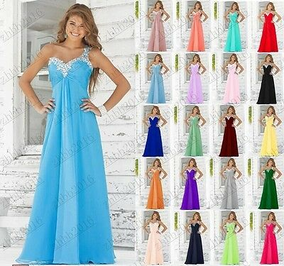 One-shoulder Formal Evening Ball Gown Party Prom Bridesmaid Dress Stock Size6-26