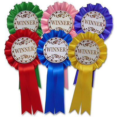 1 tier Winner Rosettes Lovely Assorted Colours, Well Done Award / Prize - F1