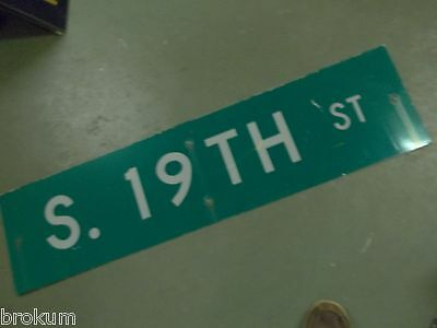 "Large Original 19Th Street Sign 48"" X 12"" White Lettering On Green"