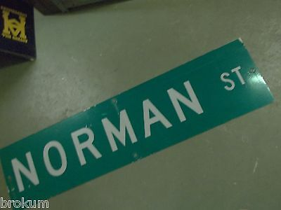 "Large Original Norman St Street Sign 48"" X 12"" White Lettering On Green"