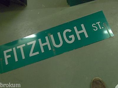 "Large Original Fitzhugh St Street Sign 48"" X 12"" White Lettering On Green"