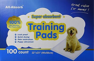 100 All-Absorb Pet Pee Wee Housebreaking Pads Dog Puppy House Training Underpads