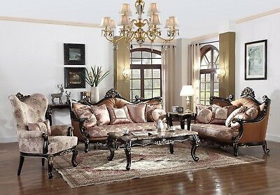 Elegant Traditional Luxury Sofa & Love Seat Formal Living Room Furniture Set