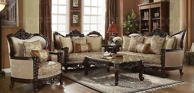 TRADITIONAL VICTORIAN LUXURY Sofa & Love Seat Formal Living Room ...