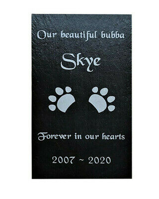 Personalised Engraved Pet Memorial Slate Headstone Grave Marker Plaque Dog/ Cat