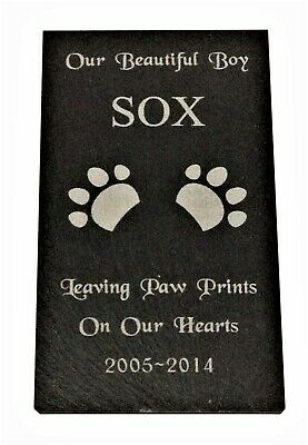 Personalised Pet Memorial Slate Stone Grave Marker Plaque Sign Dog Cat Pets