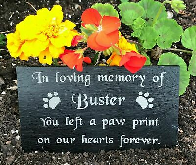 Engraved Personalised Pet Memorial Headstone Grave Marker Slate Plaque Dog Cat