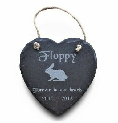 Large Natural Slate Heart Pet Memorial Grave Marker Hanging Plaque Rabbit