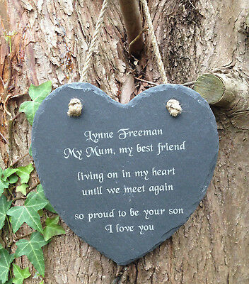 Personalised Engraved Memorial Natural Slate Heart Grave Marker Hanging Plaque