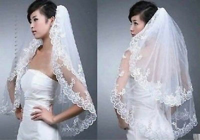 2016 New White/Ivory 2 Layers Wedding Bridal Veils Lace Edge With Comb
