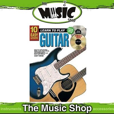 New 10 Easy Lessons Learn to Play Guitar Music Tuition Book with CD & DVD