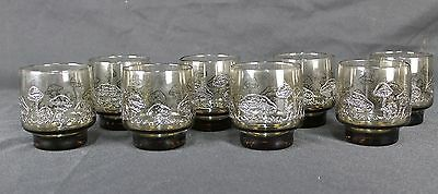 Vintage Libbey Tawny Accent Brown Mushroom Old Fashioned Glasses