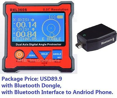 Digital Bevel Box Inclinometer Angle Dual Axes GYRO + GRAVITY + BLUETOOTH 360S