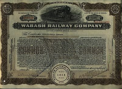 Wabash Railway Stock Certificate Railroad