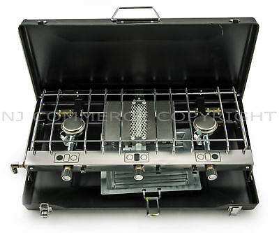 Foldable Gas Stove Grill 3 Burner Portable Fishing Camping Carry Case FS-430 NEW