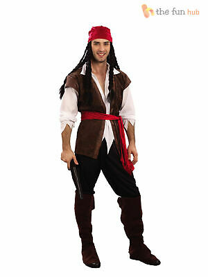 Mens Caribbean Pirate Captain Jack Sparrow Book Week Costume Adult Fancy Dress