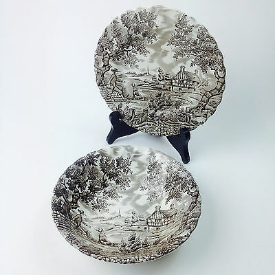 "Vintage MYOTT "" THE HUNTER "" BOWL & PLATE Made in England"