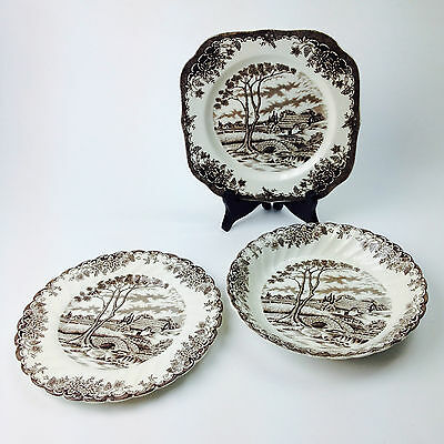 """Vintage Set of 3 MYOTT """" THE BROOK """" BOWL & ROUND PLATE & SQUARE PLATE England"""