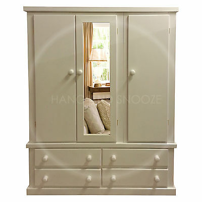 Hand Made Dewsbury Furniture Triple Mirrored Shelved Wardrobe White(Assembled)