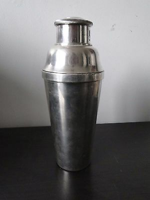 Art Deco Silver Plated Cocktail Shaker, French 1920, Marked, Plain Design