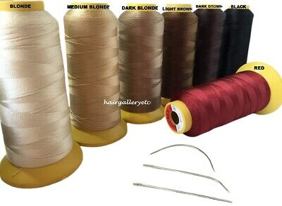 2000m JUMBO WEAVING THREAD & 3 pcs WEAVE NEEDLE FOR WEFT HAIR EXTENSIONS USA