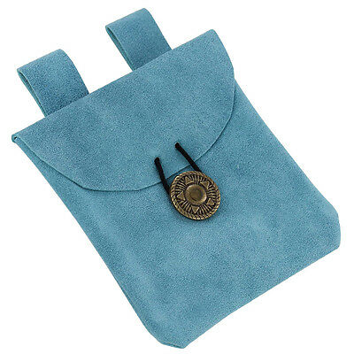 Medieval Renaissance Lights of the Peaceful Blues Suede Leather Belt Pouch