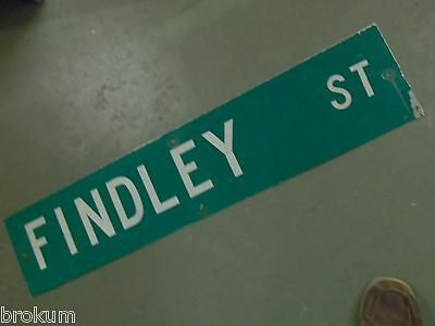 "Vintage ORIGINAL FINDLEY ST STREET SIGN 42"" X 9"" WHITE LETTERING ON GREEN"