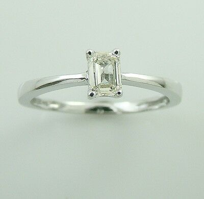 0.36 ct solitaire real diamond wedding engagement ring 18k white gold ring