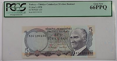 L.1970 Turkey 5 Lira Bank Note SCWPM# 185 PCGS 66 PPQ Gem New