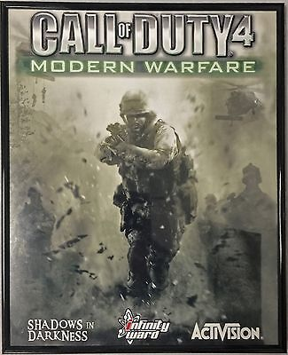 "Used Call of Duty 4 MW w/Black Acrylic Frame Poster Artwork Print 22""x16.5"""
