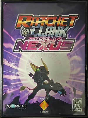 "Used Ratchet and Clank Nex w/Black Acrylic Frame Poster Artwork Print 22""x16.5"""
