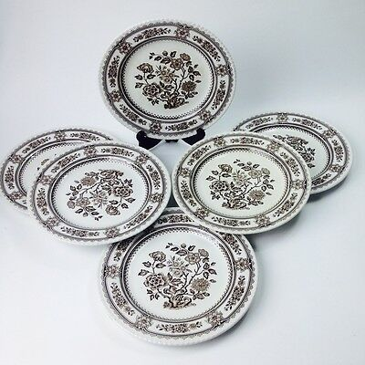 """6 x Vintage """" DORSET """" WOOD & SONS China Dinner PLATES ENGLAND Hand Engraving"""
