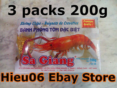 Lot 3packsx200gr shrimp chips - Beignets Crevettes phong tom dac biet Sa Giang