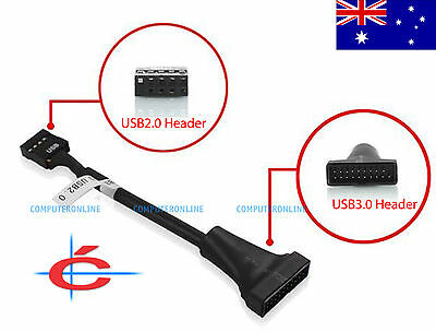 20-Pin USB 3.0 Connection (Male) to 10-Pin USB 2.0 Head (Female) for Motherboard