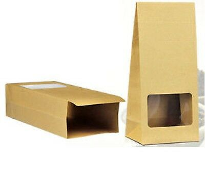 12 24 or 50 Brown Kraft Bags Grease proof waxed Paper bags Window Lolly Buffet
