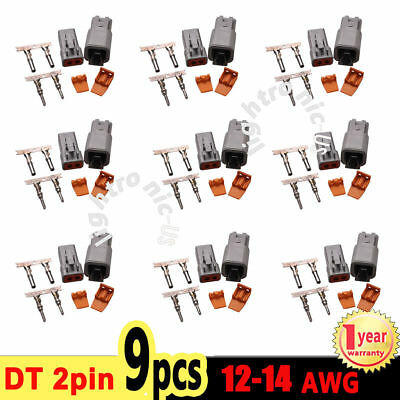 9 set Deutsch DT 2 Pin Connector Kit with 14-16 AWG Pins Contacts Male & Female