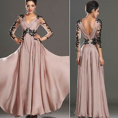 Sexy Lace Chiffon Evening Formal Party Cocktail Prom Gown Bridesmaid Long Dress