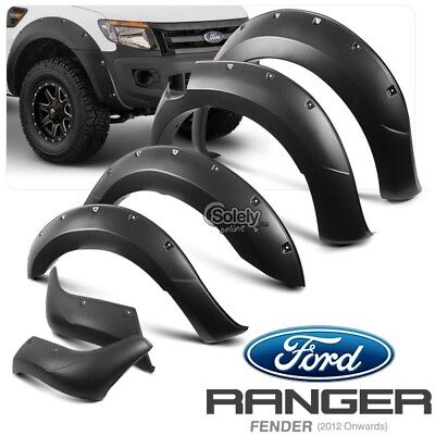 6 Pcs Complete Set FORD Ranger T6 Wide Body Wheel Arch Matte Fender Flare ABS
