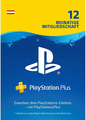 AT PlayStation Plus 12 Monate [365 Tage] Austria Karte Key Code PSN PS4 PS3 PSP