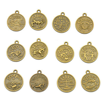 12pcs/Lot Mixed Bronze Constellation Signs Of Zodiac Charms Pendants 21mm